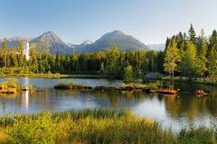 Pleso Strbske - τοπίο βουνών της Σλοβακίας στο καλοκαίρι Στοκ Φωτογραφίες