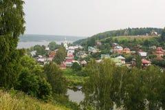 Plesstad op de Volga rivier Stock Foto's