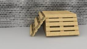 Páletes de madeira no fundo da parede de tijolo Imagens de Stock