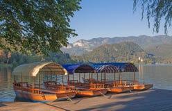 Pletna, ξύλινες βάρκες, λίμνη που αιμορραγείται, Σλοβενία Στοκ Εικόνες
