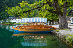 Pletna boats dock under a lakeside tree on Lake Bled, Slovenia Stock Image