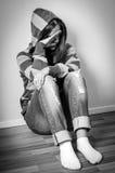 Pleurer déprimé de fille Photographie stock libre de droits