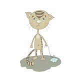 Pleurer mignon de chat de bande dessinée illustration de vecteur