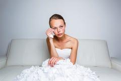 Pleurer triste de mariée Photos stock