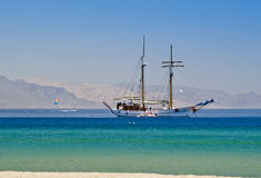 Pleusure yacht near a beach in Eilat, Israel Royalty Free Stock Photography