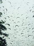 Pleuvant des gouttelettes dessus sur le pare-brise Photographie stock libre de droits
