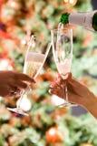 Pleuvoir à torrents un champagne Photos libres de droits