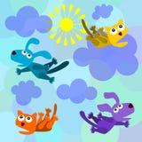 Pleuvoir des chats et des crabots Images libres de droits