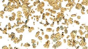 Pleuvoir des symboles dollar d'or Fond blanc 3d rendent illustration libre de droits