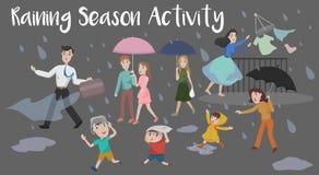 Pleuvoir l'activité de saison illustration stock