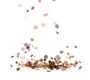 Pleuvoir le gros lot de pièces de monnaie Photographie stock libre de droits