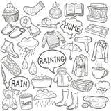 Pleuvoir le vecteur fabriqué à la main de conception de griffonnage de croquis traditionnel d'icônes illustration stock