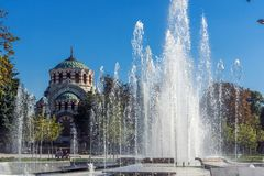 St. George the Conqueror Chapel Mausoleum and fountain in center of city of Pleven, Bulgar. PLEVEN, BULGARIA - SEPTEMBER 20, 2015: St. George the Conqueror stock photo