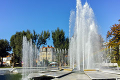 PLEVEN, BULGARIA - 20 SEPTEMBER 2015: Town hall and fountain in center of city of Pleven Royalty Free Stock Photo