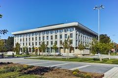 PLEVEN BULGARIEN - 20 SEPTEMBER 2015: Central fyrkant i stad av Pleven Arkivfoton