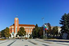 PLEVEN BULGARIEN - 20 SEPTEMBER 2015: Central fyrkant i stad av Pleven Royaltyfri Fotografi