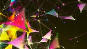 Plexo abstracto de la triangulación con las conexiones en espacio, fondo con los puntos de conexión y líneas, representación 3d almacen de video