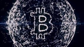 Plexo blanco abstracto geométrico, con símbolo del bitcoin en la esfera hecha de líneas y puntos o nodos 4K ultra HD libre illustration
