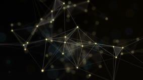 Plexo de linhas, de triângulos e de pontos abstratos Fundo do ouro Animações do laço ilustração stock