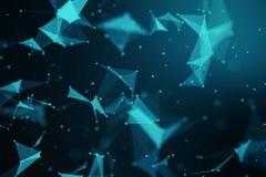 Plexo geométrico azul abstracto en fondo negro con las líneas libre illustration