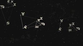 Plexo hermoso con las muestras del zodiaco, estrellas Grupo de estrellas que forman una constelación ilustración del vector