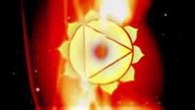 Plexo solar Manipura Chakra Mandala Spins no campo dourado da energia do fogo ilustração do vetor