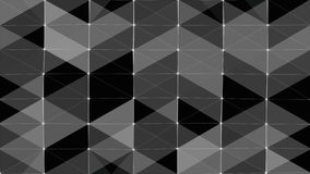 Plexus of abstract lines, triangles and dots. Black background. Loop animations. stock video