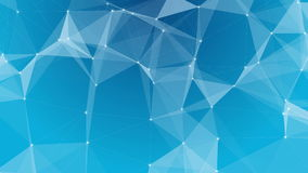 Plexus of abstract lines, triangles and dots. Blue background. Loop animations. stock footage