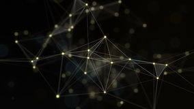 Plexus of abstract lines, triangles and dots. Gold background. Loop animations.
