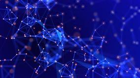 Plexus abstrait de fond de communication numérique et de technologie avec des lignes et des points graphique du mouvement 4K
