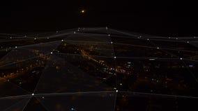 Plexus. Aerial view. Futuristic network Technology 4k