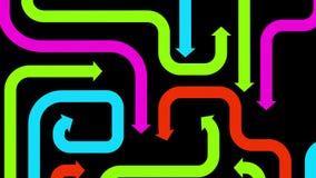 Plexus av färgrika pilar på svart, 2d illustration Arkivfoton