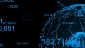 Plexus avec des nombres numériques, des diagrammes, des graphiques et le texte Sphère abstraite