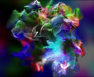 Plexus of beautiful particles, 3d illustration Royalty Free Stock Images