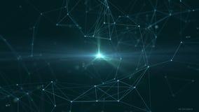 plexus Bello fondo astratto con i numeri, le molecole e gli atomi tecnologie galassia illustrazione vettoriale