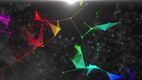 Plexus-bunte Polygone stock video footage