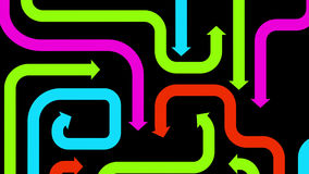 Plexus of colorful arrows on black, 2d illustration. Computer-generated image on abstract theme Stock Photos