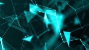 Plexus des lignes géométriques bleues de résumé avec les triangles et les animations mobiles de points Grand concept de technolog
