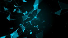 Plexus fantasy abstract technology. Abstract geometric background with moving lines, dots and triangles. stock video footage