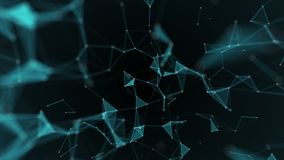 Plexus fantasy abstract technology. Abstract geometric background with moving lines, dots and triangles. stock footage