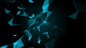 Plexus fantazi abstrakta technologia Abstrakcjonistyczny geometryczny tło z liniami, kropkami i trójbokami chodzenia, ilustracja wektor