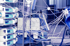 Plexus in the ICU. Plexus of wires from devices around the bedside in the ICU Stock Photo