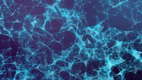 Plexus of lines and dots. Abstract motion background. Molecular lattice network. Seamless loop animation stock illustration