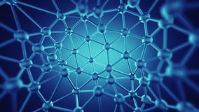 Plexus lines and nodes network abstract 3D rendering. Plexus lines and nodes network. Concept of internet communication technology and science. Abstract 3D stock illustration