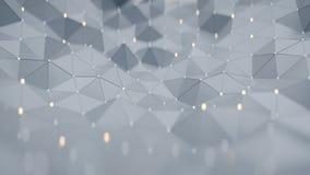 Plexus popielata powierzchnia z liniami i rozjarzonym guzków 3D renderingiem fotografia stock