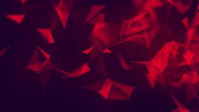 Plexus. Abstract triangle background. Futuristic technology motion background. Abstract red forms on dark background. Geometric an vector illustration