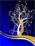 Plexus trees. Interweaving of the two trees, white and gold colors Stock Photos
