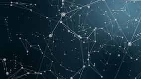 Plexusphantasie-Zusammenfassungstechnologie und Technikhintergrund mit ursprünglicher organischer Bewegung stockfotos