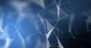 Plexuszusammenfassungshintergrund, geometrische Struktur 3D Knotenbeschaffenheitshintergrund Digitaltechnik blauer makro molekula stock abbildung