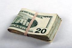 Plié billets de vingt dollars Images libres de droits